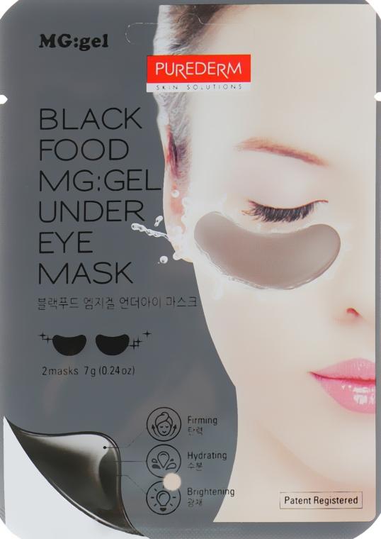 Гидрогелевая питательная маска под глаза - Purederm Black Food MG: Under Eye Mask