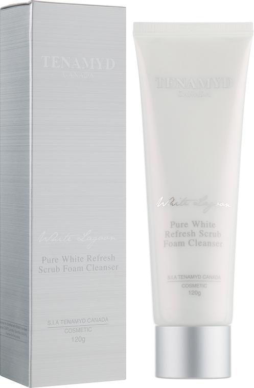Отбеливающий массажный скраб для кожи с пигментацией - Tenamyd Canada Pure White Refresh Scrub Foam Cleanser