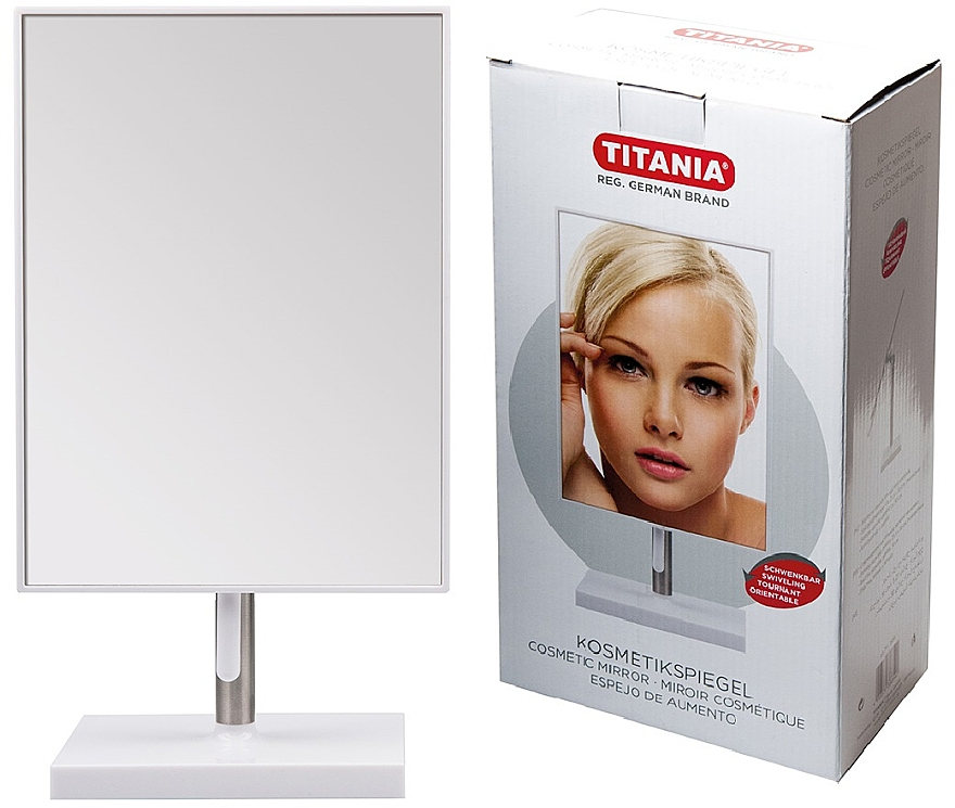 Зеркало косметическое в раме, 16х30 см, на металлической ножке - Titania