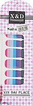 Духи, Парфюмерия, косметика Водные наклейки для ногтей, сине-розовая полоска - Элита