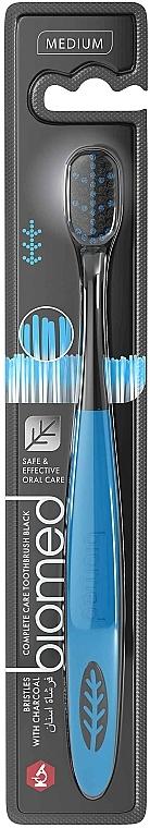 Зубная щетка с угольным напылением, средней жесткости, черно-голубая - Biomed Black Medium Toothbrush