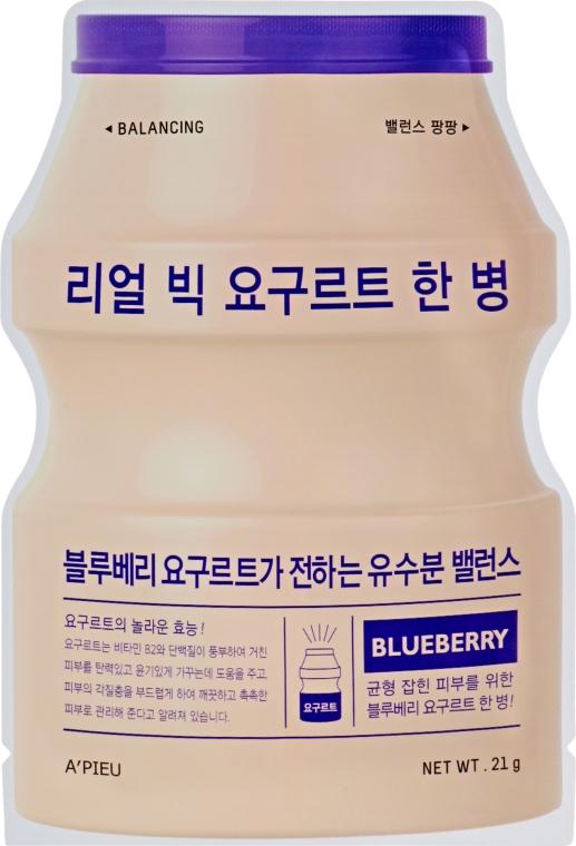 "Тканевая маска ""Йогурт голубика"" - A'pieu Real Big Yogurt One Bottle Mask Blueberry"