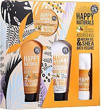 Духи, Парфюмерия, косметика Набор - Dirty Works Happy Naturals (sh/gel/100ml + b/butter/100ml + scrub/100ml + flannel/towel)