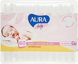 Духи, Парфюмерия, косметика Ватные палочки для новорожденных, 60шт - Aura Baby Cotton Buds