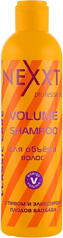 Шампунь для объема волос c пивом и эликсиром плодов баобаба - Nexxt Professional Volume Shampoo