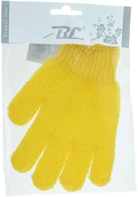 Мочалка-перчатка банная, желтая - Beauty Line