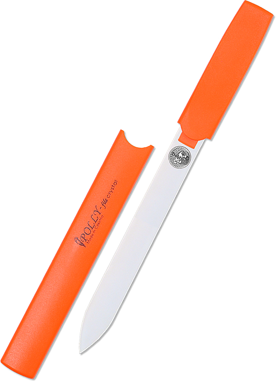 Пилка для ногтей стеклянная двухсторонняя прозрачная, 160 мм, оранжевая - Bohemia Czech Glass Nail Files