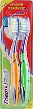 """Духи, Парфюмерия, косметика Набор """"Зигзаг комфорт"""", средней жесткости, оранжевая + салатовая - Meggi Fresh&White Zigzag Comfort"""