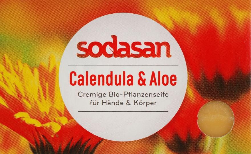 """Органическое мыло """"Календула-Алоэ"""" для лица, противовоспалительное - Sodasan"""