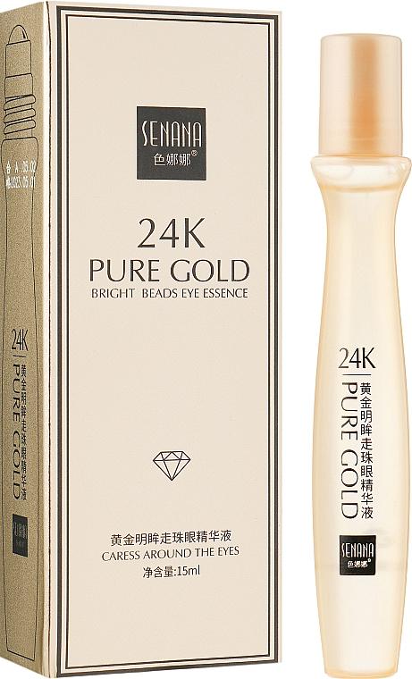 Ролик-сыворотка для удаления темных кругов под глазами - Senana 24k Pure Gold Bright Beads Eye Essence
