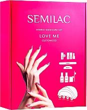 Парфумерія, косметика Semilac Love Me Starter Set (n/base/7ml+n/top/7ml+n/polish/7mlx3+n/top/3ml+aceton/50ml+n/cl/50ml+lamp + baff/1pc+n/file/1pc+n/sponge/250pc+sticks/10pc) - Стартовий набір для покриття нігтів гель-лаком