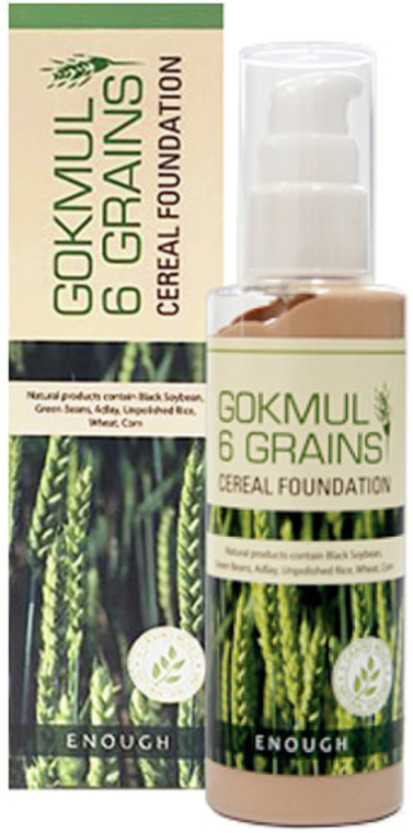 Тональный крем с экстрактами злаковых - Enough Gokmul 6 Grains Cereal Foundation SPF15