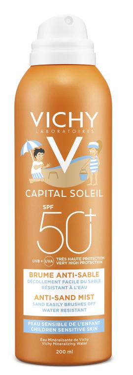 """Солнцезащитный водостойкий спрей с технологией """"анти-песок"""" для чувствительной кожи детей, SPF50+ - Vichy Ideal Soleil Anti-Sand Mist For Kids SPF50"""