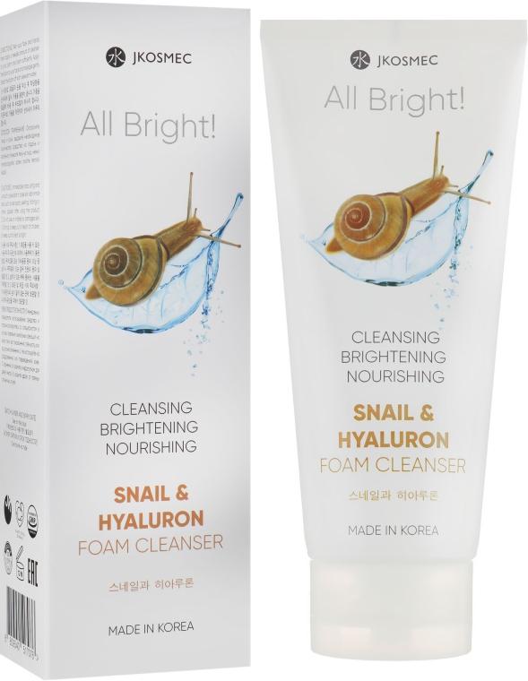 Пенка для умывания с муцином улитки и гиалуроном - Jkosmec All Bright Basic Snail And Hyaluron Foam Cleanser