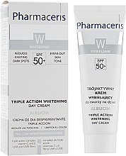 Духи, Парфюмерия, косметика Отбеливающий крем тройного действия для лица - Pharmaceris W Albucin Triple Action Whitening Day Cream SPF50+