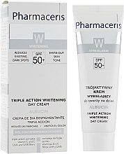 Отбеливающий крем тройного действия для лица - Pharmaceris W Albucin Triple Action Whitening Day Cream SPF50+ — фото N1