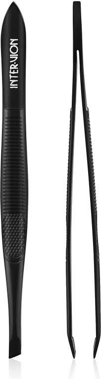 Пинцет для бровей скошеный, 499458, черный - Inter-Vion