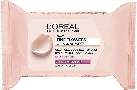 Салфетки для снятия макияжа - L'Oreal Paris Skin Expert Fine Flowers Cleansing Wipes Dry & Sensitive Skin
