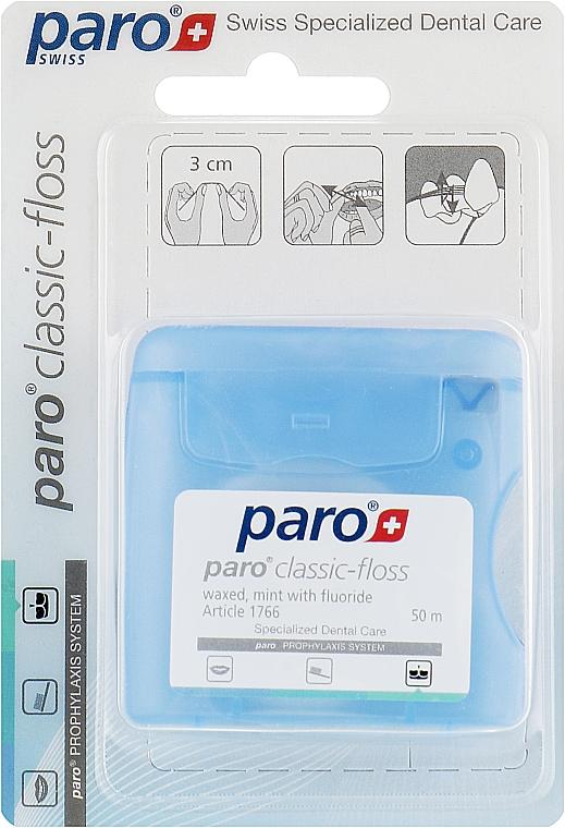 Медицинская зубная нить, вощеная, с мятой - Paro Swiss Classic-Floss
