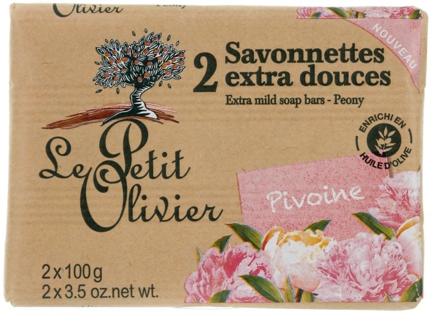 Мыло экстранежное, с экстрактом пиона - Le Petit Olivier 2 Extra Mild Soap Bars Pion