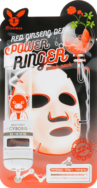 Маска омолаживающая с женьшенем - Elizavecca Face Care Red Ginseng Deep Power Ringer Mask Pack