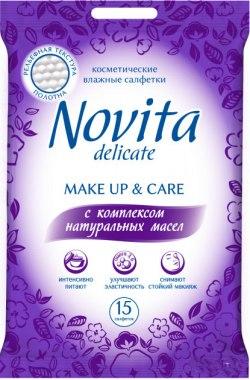 """Влажные салфетки """"Make up"""" с комплексом натуральных масел - Novita Delicate"""