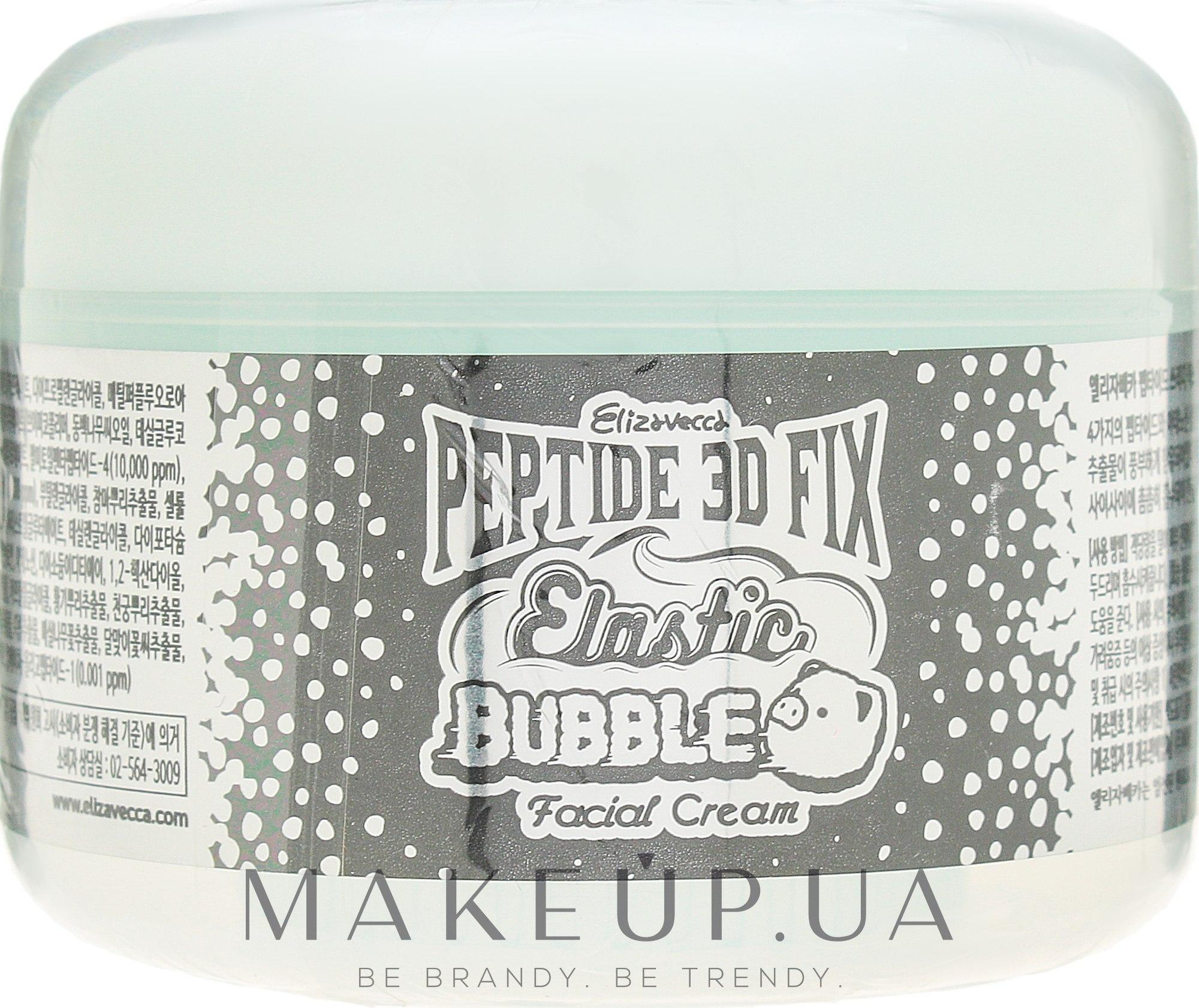 Омолаживающий пузырьковый крем для лица - Elizavecca Peptide 3D Fix Elastic Bubble Facial Cream — фото 100ml