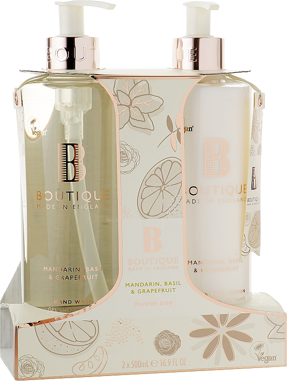 Набор - Grace Cole Boutique Mandarin Basil & Grapefruit Hand Care Duo (h/wash/500ml + lot/500ml)