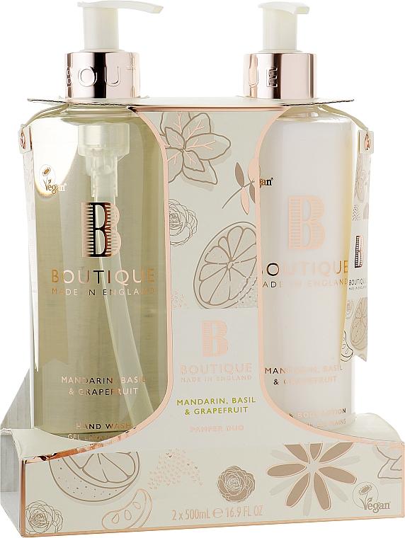 Набор - Grace Cole Boutique Mandarin Basil & Grapefruit Hand Care Duo (h/wash/500ml + lot/500ml)