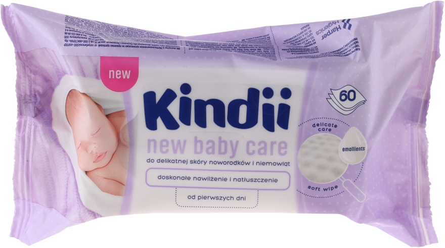 Салфетки для новорожденных, 60шт - Cleanic Kindii New Baby Care Wipes — фото N1