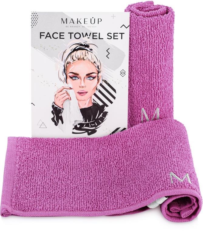 """Дорожный набор полотенец для лица, сиреневые """"MakeTravel"""" - Makeup Face Towel Set"""