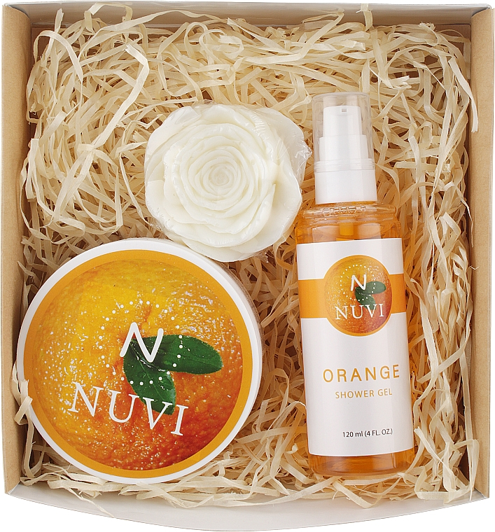 "Подарочный набор для тела ""Апельсин"" - Nuvi (soap/75g + b/scrub/200g + show/gel/120ml)"