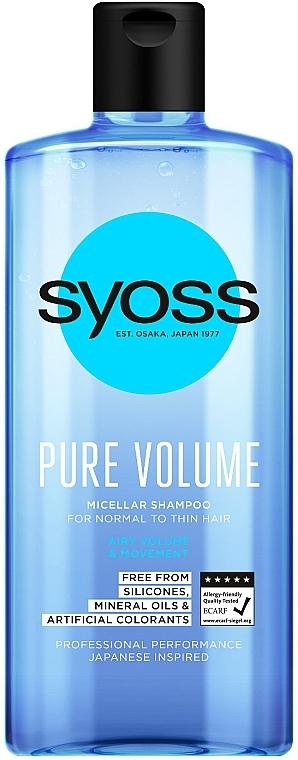 Мицеллярный шампунь для нормальных и тонких волос - Syoss Pure Volume Micellar Shampoo