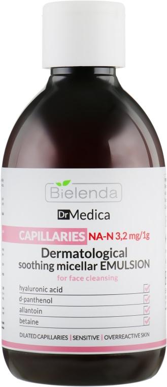 Дерматологическая эмульсия, уменьшающая покраснения, гипоаллергенная - Bielenda Dr Medica Capillaries Dermatological Soothing Micellar Emulsion For Face Cleansing