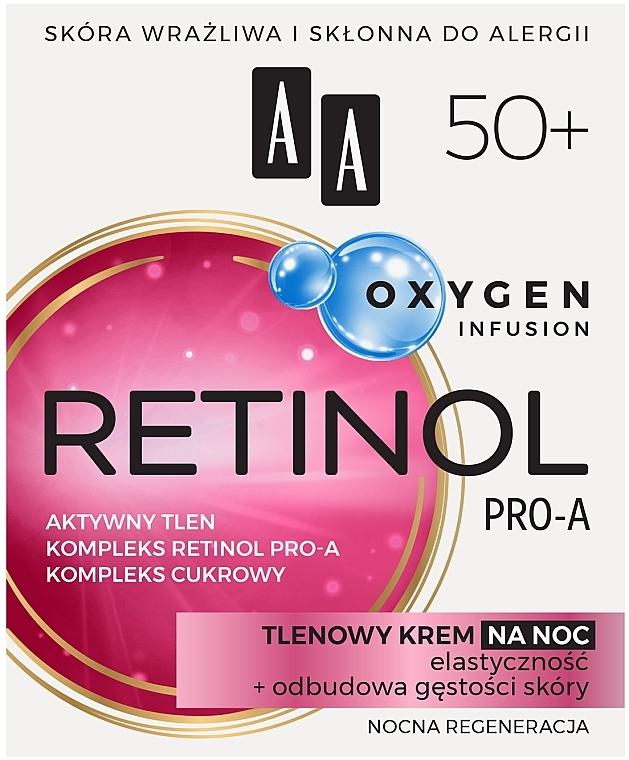 Кислородный ночной крем для лица 50+ - AA Oxygen Infusion Retinol Pro-A Night Cream