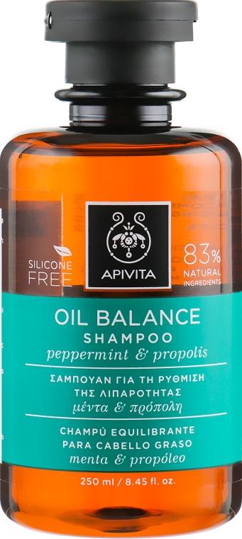 Шампунь балансирующий для очень жирных волос с перечной мятой и прополисом - Apivita Oil Balance Shampoo With Peppermint & Propolis