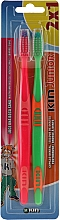 Духи, Парфюмерия, косметика Набор детских зубных щеток, зеленая + красная - Kin Junior Toothbrush Pack