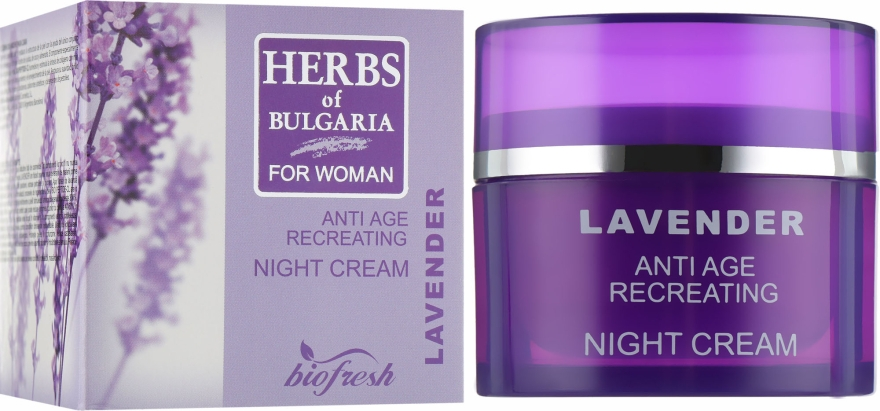 "Крем для лица ночной ""Лаванда"" - BioFresh Herbs of Bulgaria Anti Age Hydrating Night Cream Lavender"