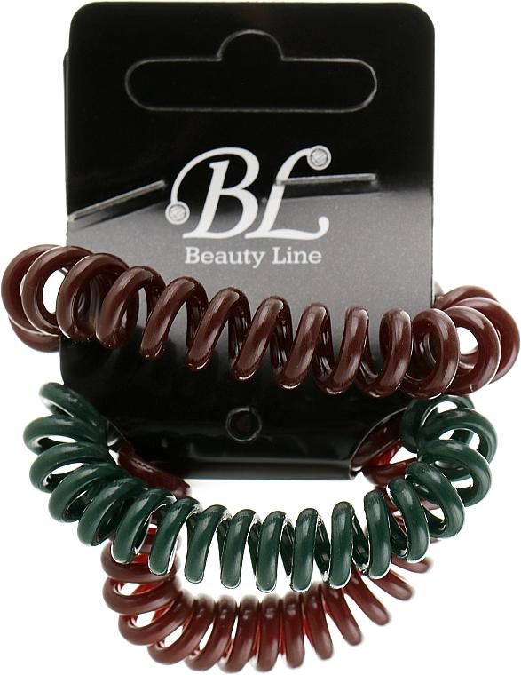Набор резинок для волос, 405004, коричневая+зеленая+коричневая - Beauty Line