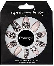 Духи, Парфюмерия, косметика Набор искусственных ногтей, бежевый с черным - Donegal Express Your Beauty