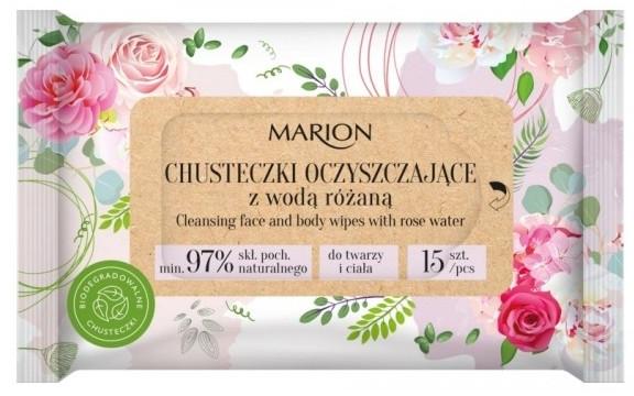 Очищающие салфетки для лица и тела с розовой водой, 15 шт. - Marion
