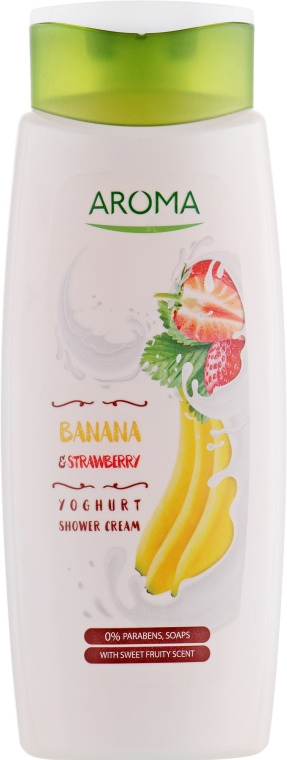 "Крем-гель для душа ""Банан и Клубника"" - Aroma Greenline Yoghurt Shower Cream Banana & Strawberry"