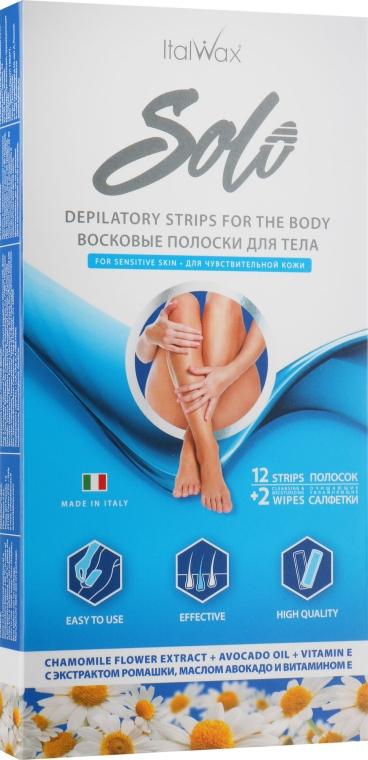 """Восковые полоски для депиляции тела """"Ромашка"""" - ItalWax Solo Depilatory Strips For The Body"""