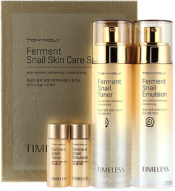 Набор - Tony Moly Timeless Ferment Snail Skin Care Set (toner/140ml + emul/140ml + toner/20ml + emul/20ml) — фото N1