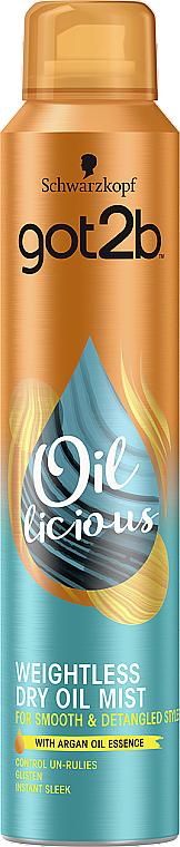 Спрей-масло для волос с маслом арганы - Got2b Mist Weightless Finish Dry Oil