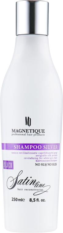 Шампунь с эффектом анти-желтизны и протеинами шелка для светлых волос - Magnetique Satin Line Silver Shampoo