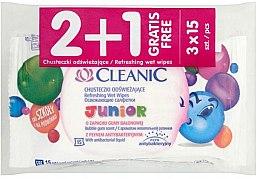 Духи, Парфюмерия, косметика Набор детских влажных салфеток - Cleanic Junior Wipes 2+1 (3x15 wipes)