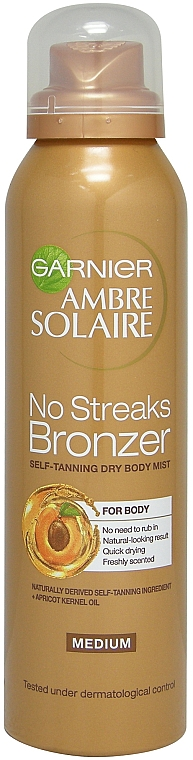 Спрей-автозагар - Garnier Ambre Solaire No Streaks Bronzer Medium Self Tan Body Mist