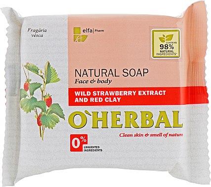 Натуральное мыло с экстрактом лесной земляники и красной глиной - O'Herbal Soap