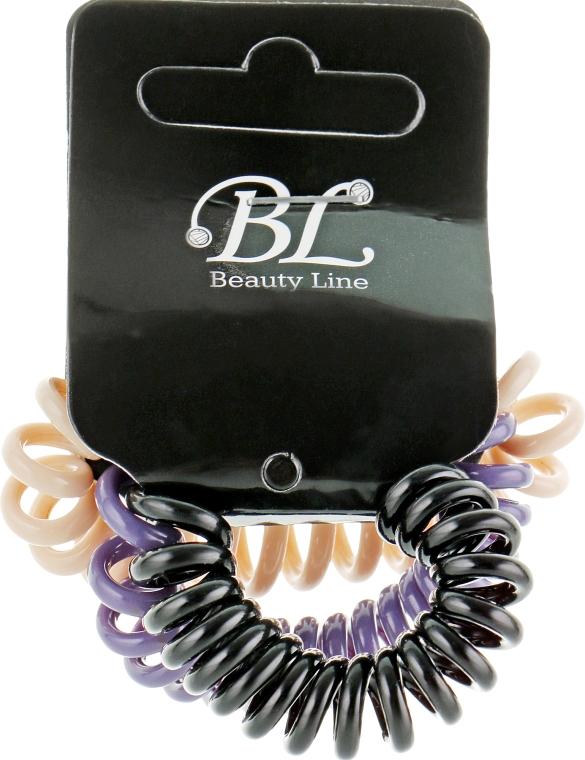 Набор резинок для волос, 405004, бежевая+фиолетовая+черная - Beauty Line